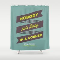 dirty dancing Shower Curtains featuring Dirty dancing by 16floor