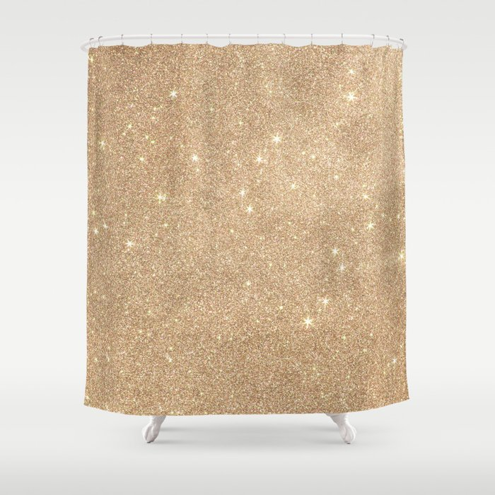 Gold Glitter Chic Glamorous Sparkles Shower Curtain