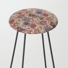 Seven Species Botanical Fruit and Grain in Mauve Tones Counter Stool