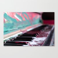music notes Canvas Prints featuring Notes by Rene Amado