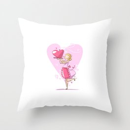Mommy's Cooking For Valentine's Day Throw Pillow