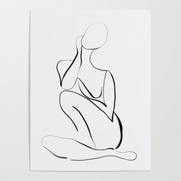 Female Figure Line Art Poster