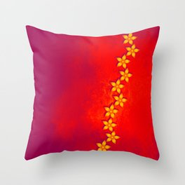Beautiful yellow flowers and red grunge texture Throw Pillow