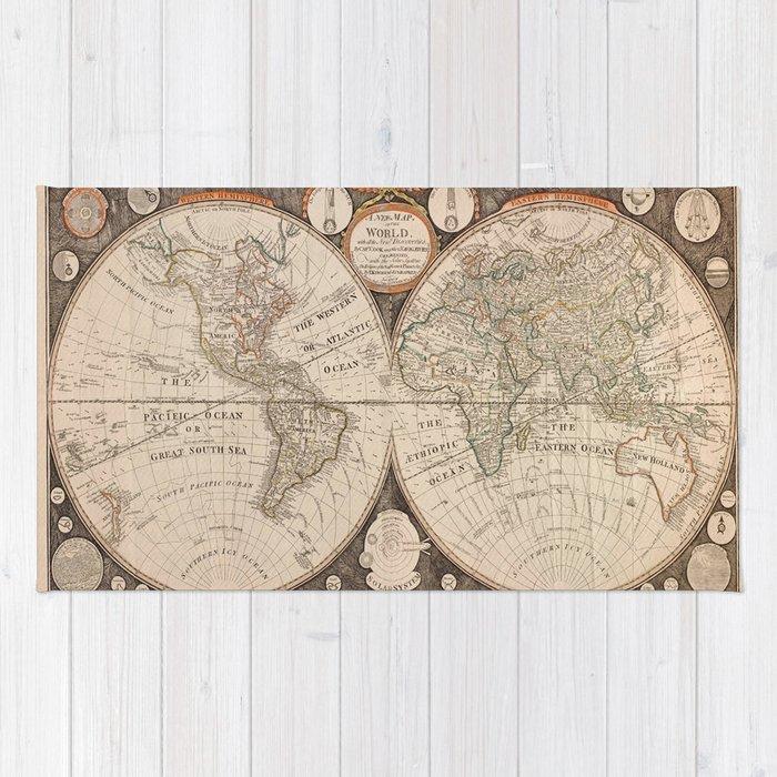 World Map Rug By Vintagemaps Society6