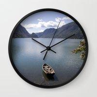 norway Wall Clocks featuring Hardangerfjord, Norway by Desiree Mostad