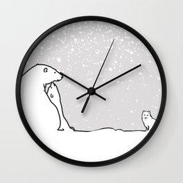 Art print: The polar bear family and the arctic fox Wall Clock