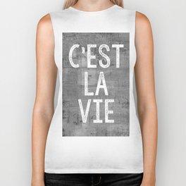 Cest La Vie French Quote That's Life Grey Grunge Biker Tank
