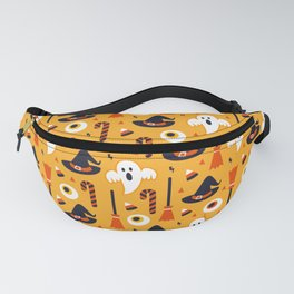 Happy halloween ghosts, brooms, eyeballs and witch hats pattern Fanny Pack