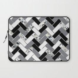 Shuffled Marble Herringbone - Black/White/Gray/Silver Laptop Sleeve