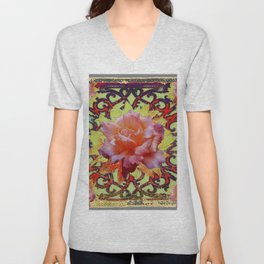 Floral Roses Rustic Cream-Brown  Abstract Pattern Unisex V-Neck