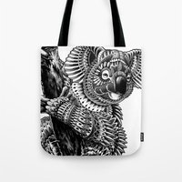 ornate Tote Bags featuring Ornate Koala by BIOWORKZ