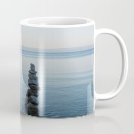Balance stone pyramid on the sea coast in Croatia Coffee Mug