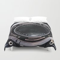 vintage camera Duvet Covers featuring Camera by Katherine Ridgley