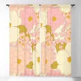 Pink Pastel Vintage Floral Pattern Blackout Curtain