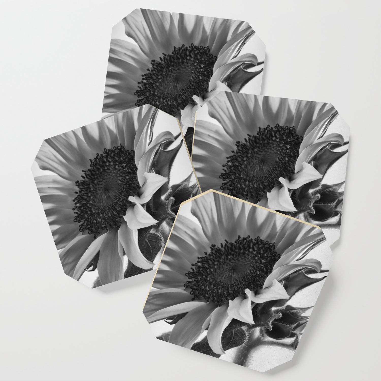 Sunflower black white coaster by vintageby2sweet