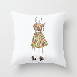 a girl in a dress Throw Pillow