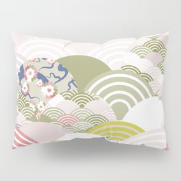 scales simple Nature background with japanese sakura flower, rosy pink Cherry, wave circle pattern Pillow Sham