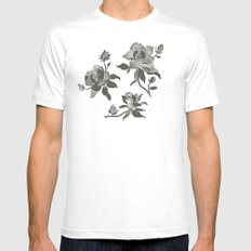 Black Magnolia Pattern Mens Fitted Tee LARGE White