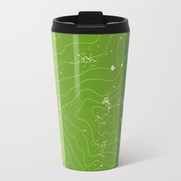 Green topographic map of a mountain Travel Mug