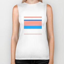 Blue Coral Blush and White Bold Stripes Biker Tank