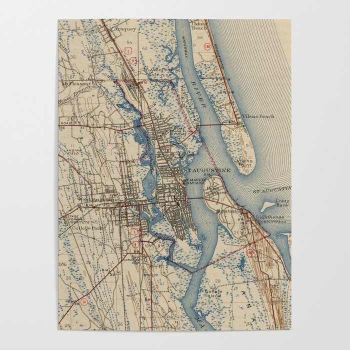 Vintage Map of St. Augustine Florida (1937) Poster