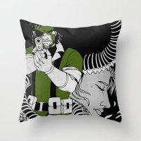 metal gear solid Throw Pillows featuring Metal Gear Solid 3: Snake Eater by Monserratt