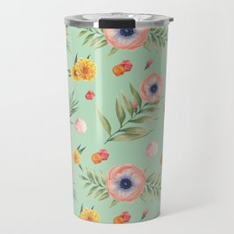 Hand painted coral yellow watercolor geometric floral Travel Mug