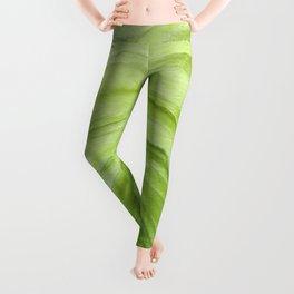 Agate II - Lime Green Watercolor Leggings