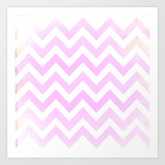 Pink Textured Chevron Pattern Art Print