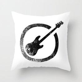 Bass Guitar Ink Stamp Throw Pillow