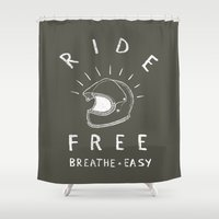 grease Shower Curtains featuring breathe easy by The Junkers