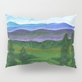 View from a mountain slope to distant mountains and forests Pillow Sham