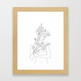 Minimal Line Art Woman with Wild Roses Framed Art Print