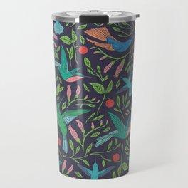 Hummingbirds and Hibiscus Tropical Pattern Travel Mug