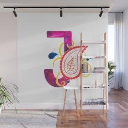 Paisley monogram letter J Wall Mural