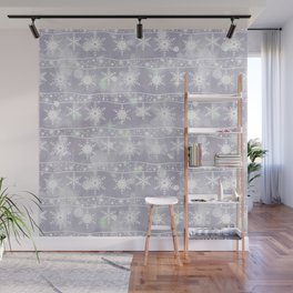 Openwork white snowflakes on light grey. Wall Mural