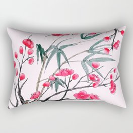 bamboo and red plum flowers in pink background Rectangular Pillow