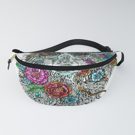 Floral Wolf. Fanny Pack