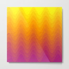 Pink and Yellow Ombre - Waves Metal Print