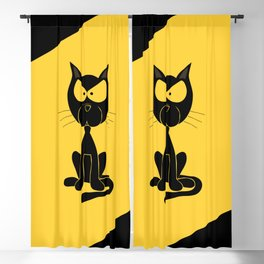The angry cat print, animal cartoon design Blackout Curtain