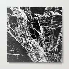 Black Marble Pattern Metal Print