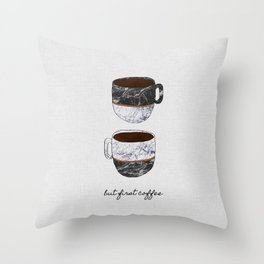 But First Coffee, Coffee Quote Throw Pillow