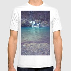 Waterfall Nature Water - Teal Blue Waterfall Cove White MEDIUM Mens Fitted Tee