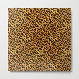 Chic Leopard Fur Fabric Metal Print
