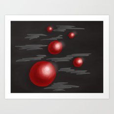 Shiny Red Planets Art Print