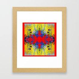 WESTERN YELLOW & RED GARDEN GOLD BLUE FLOWERS Framed Art Print