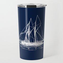 Sailboat Sailing Boat in White and Nautical Navy Blue Travel Mug