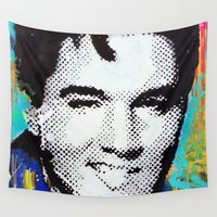 elvis presley Wall Tapestries featuring Elvis Presley  by Paola Gonzalez