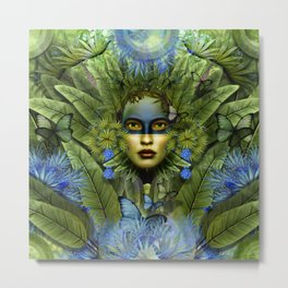 """Tropical green and indigo jungle Woman"" Metal Print"