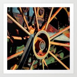 Color Tractor Wheel Art Print
